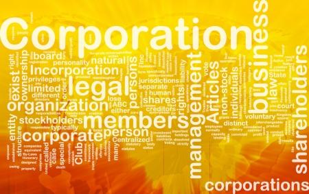 Background concept wordcloud illustration of corporation international Foto de archivo