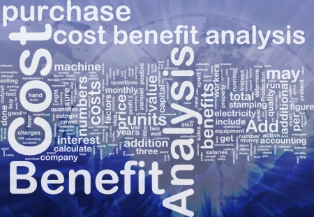 benefits: Background concept wordcloud illustration of cost benefit analysis international
