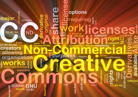 commons: Background concept wordcloud illustration of creative commons license glowing light Stock Photo