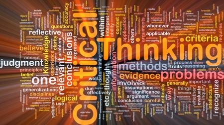 光輝く批判的思考戦略の背景概念 wordcloud イラスト
