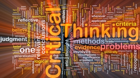 busines: Background concept wordcloud illustration of critical thinking strategy glowing light