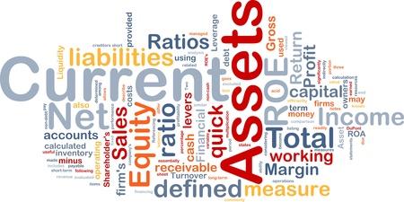 Achtergrond concept wordcloud illustratie van de financiële vlottende activa