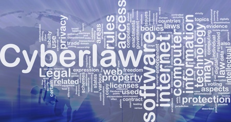 computerized: Background concept wordcloud illustration of cyberlaw international Stock Photo