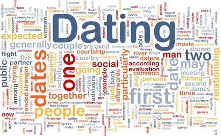 courtship: Background concept wordcloud illustration of dating  Stock Photo