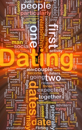 expected: Background concept wordcloud illustration of dating  glowing light