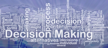 Background concept wordcloud illustration of decision making international Stock Photo