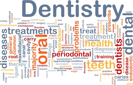 Background concept wordcloud illustration of dentistry illustration