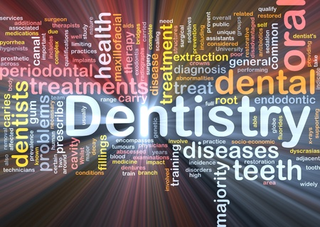 Background concept wordcloud illustration of dentistry glowing light