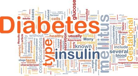 diabetes: Ilustraci�n de wordcloud concepto de fondo de enfermedad m�dica diabetes