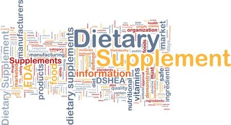 Achtergrond concept wordcloud illustratie van voedingssupplement