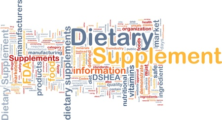 fda: Background concept wordcloud illustration of dietary supplement