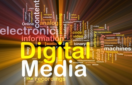 digital distribution: Background concept wordcloud illustration of electronic digital media glowing light Stock Photo