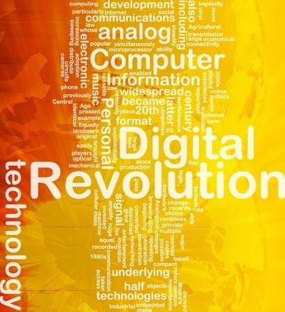 widespread: Background concept wordcloud illustration of digital revolution international