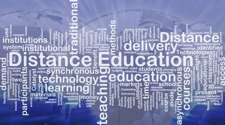 distance: Background concept wordcloud illustration of distance education international