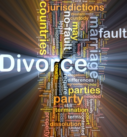 Background concept wordcloud illustration of divorce  glowing light illustration