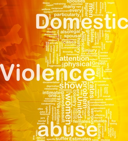 violence conjugale: Sch�ma conceptuel wordcloud illustration de la violence domestique internationale contre l'abus