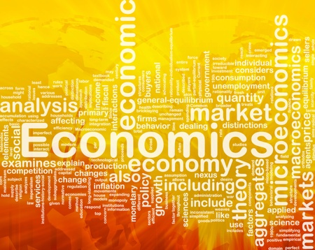 demanded: Background concept wordcloud illustration of economics international