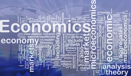 Achtergrond concept wordcloud illustratie van de economie internationaal Stockfoto