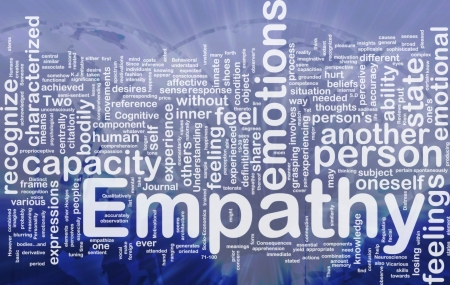 Achtergrond concept wordcloud illustratie van empathie internationale Stockfoto
