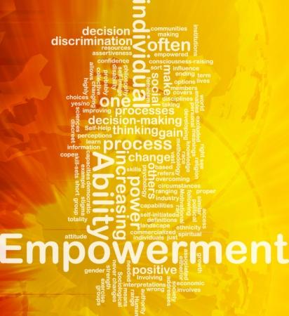 Achtergrond concept wordcloud illustratie van enpowerment internationale