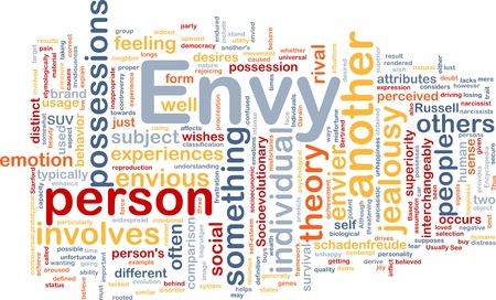 perceived: Background concept wordcloud illustration of envy  Stock Photo