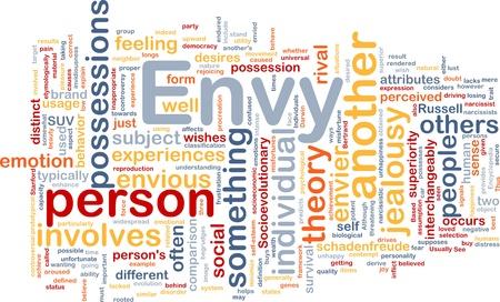 envy: Background concept wordcloud illustration of envy  Stock Photo