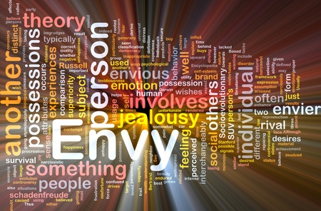 Background concept wordcloud illustration of envy  glowing light