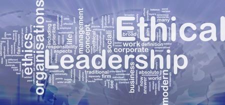 Achtergrond concept wordcloud illustratie van ethisch leiderschap internationale