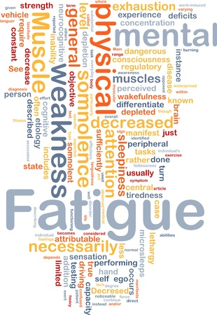 deficits: Background concept wordcloud illustration of fatigue