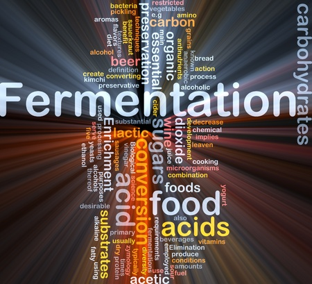organics: Background concept wordcloud illustration of fermentation food process  glowing light