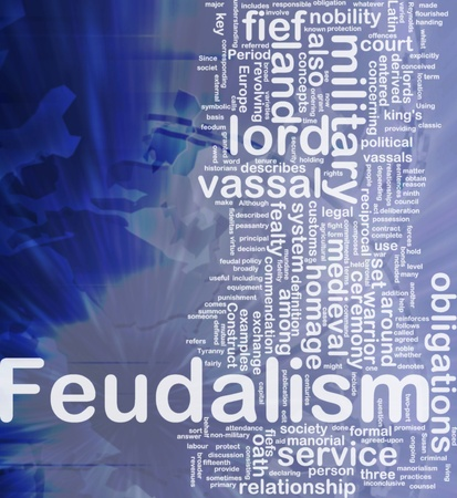 historians: Sfondo concetto illustrazione wordcloud del feudalesimo internazionale