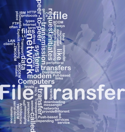 ftp: Background concept wordcloud illustration of file transfer international