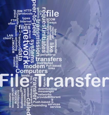 provide: Background concept wordcloud illustration of file transfer international