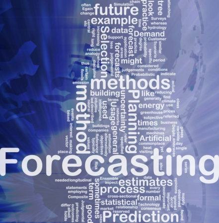 outcomes: Background concept wordcloud illustration of forecasting international