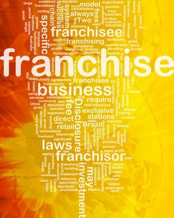 Background concept wordcloud illustration of franchise international