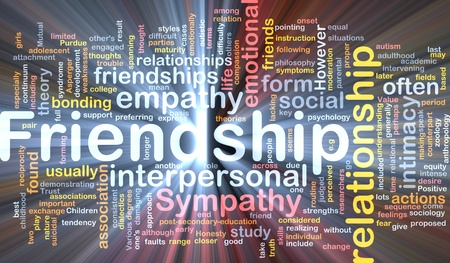 interpersonal: Background concept wordcloud illustration of friendship glowing light Stock Photo