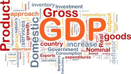 Achtergrond concept wordcloud illustratie van het BBP binnenlandse economie Stockfoto