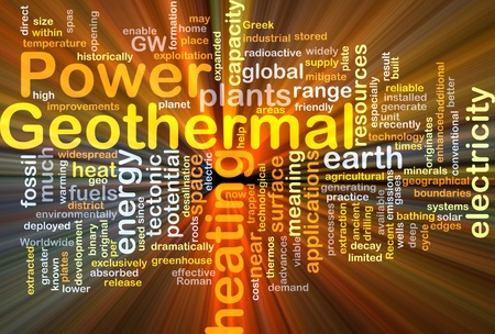 geothermal: Background concept illustration of geothermal heating power glowing light