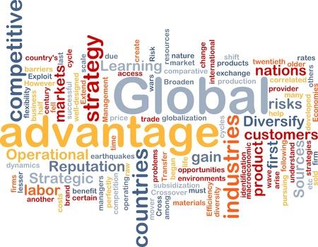 Achtergrond concept wordcloud illustratie van het bedrijfsleven wereldwijd voordeel
