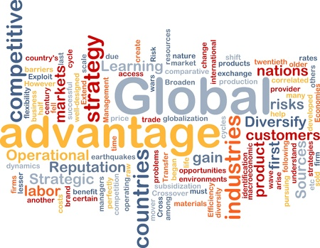 Ilustración de wordcloud concepto de fondo de ventaja global de negocios Foto de archivo