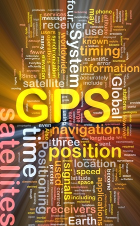 Background concept wordcloud illustration of GPS Global positioning glowing light
