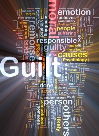 remorse: Background concept wordcloud illustration of guilt  glowing light Stock Photo