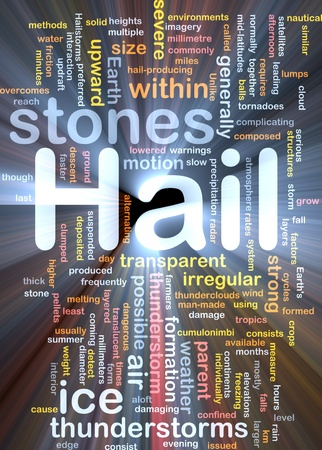 tornadoes: Background concept wordcloud illustration of hail stones weather glowing light Stock Photo
