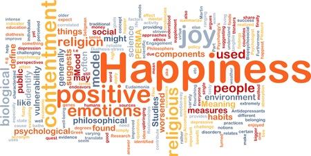feeling positive: Ilustraci�n de wordcloud concepto de fondo de la felicidad
