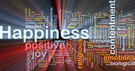Hintergrund Konzept Wordcloud Glück glühend Licht