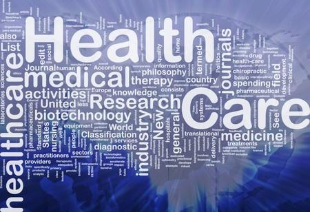 Wordcloud Hintergrund Konzept des Gesundheitswesens, die internationale Lizenzfreie Bilder