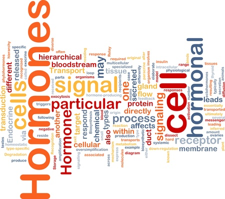 hormonas: Ilustración de wordcloud concepto de fondo de la señal hormonal de hormonas