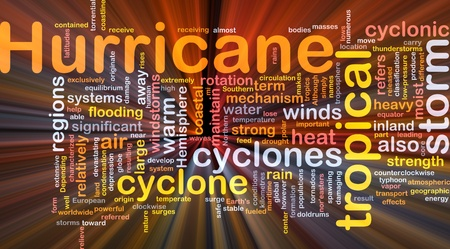 tornadoes: Background concept wordcloud illustration of hurrican cyclone weather glowing light Stock Photo