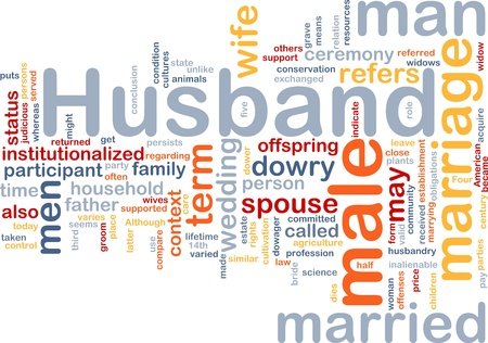 marrying: Background concept wordcloud illustration of husband