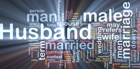 marrying: Background concept wordcloud illustration of husband  glowing light Stock Photo